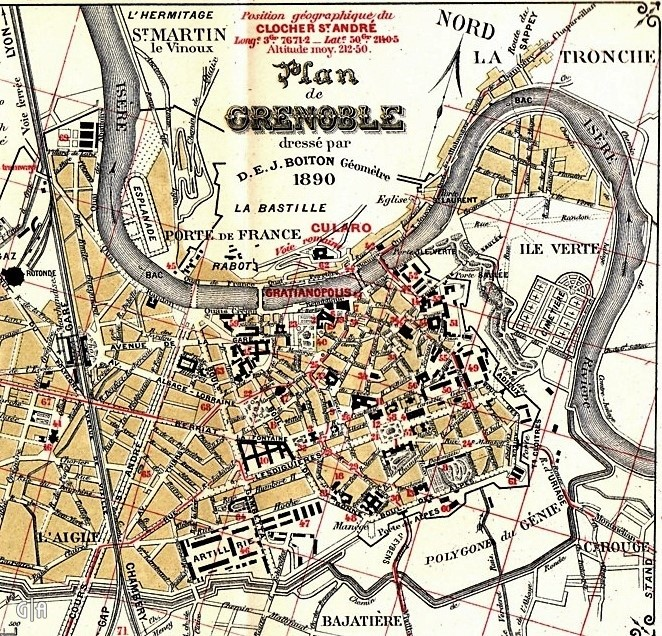 Plan fortifications Grenoble 1890